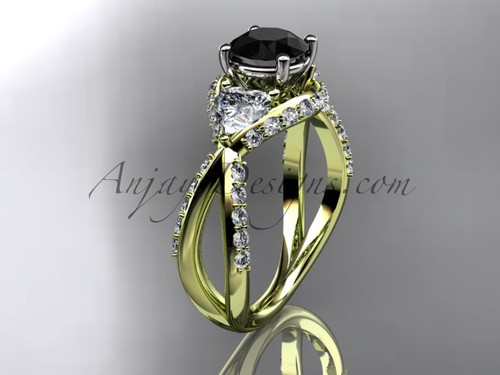 Unique 14kt yellow gold diamond wedding ring, engagement ring with a Black Diamond center stone ADLR318