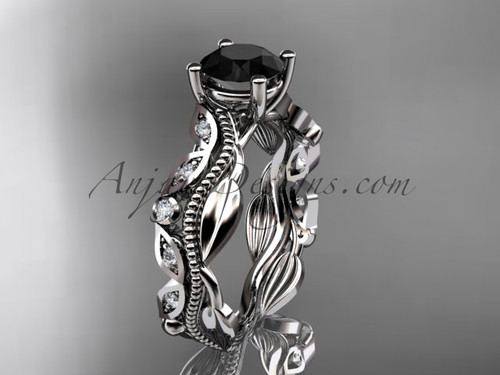 Platinum diamond leaf and vine wedding ring, engagement ring with a  Black Diamond center stone ADLR342