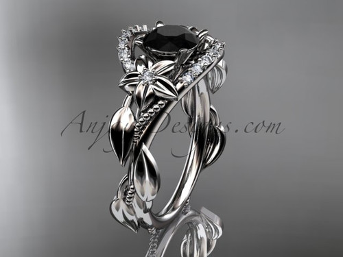 14kt white gold diamond unique engagement ring, wedding ring with a Black Diamond center stone ADLR326