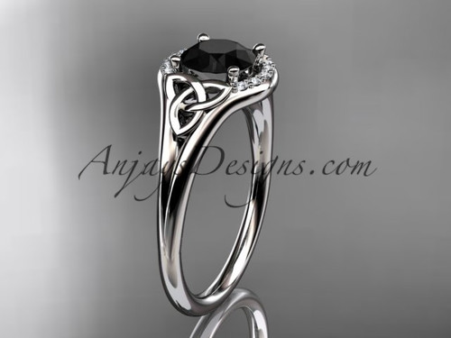 platinum celtic trinity knot engagement ring, wedding ring with a Black Diamond center stone CT791