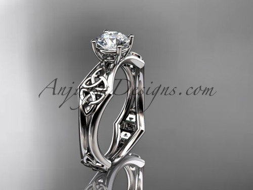"""14kt white gold celtic trinity ring,  triquetra ring, engagement  ring with a """"Forever One"""" Moissanite center stone CT7356"""