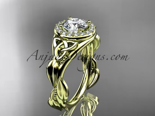 """14kt yellow gold diamond celtic trinity knot wedding ring, engagement ring with a """"Forever One"""" Moissanite center stone CT7327"""