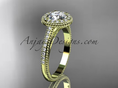 """14kt yellow gold diamond unique engagement ring, wedding ring with a """"Forever One"""" Moissanite center stone ADER104"""