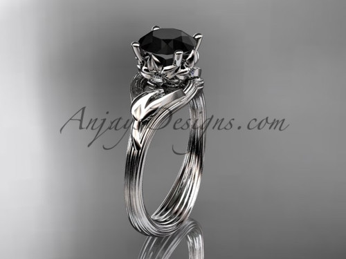 14kt white gold diamond flower, leaf and vine wedding ring, engagement ring with a Black Diamond center stone ADLR240