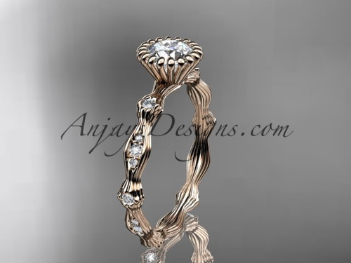 "14kt rose gold diamond leaf wedding ring, engagement ring with  ""Forever One"" Moissanite center stone ADLR21"