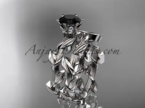 Unique platinum diamond floral engagement set with a  Black Diamond  center stone ADLR248S