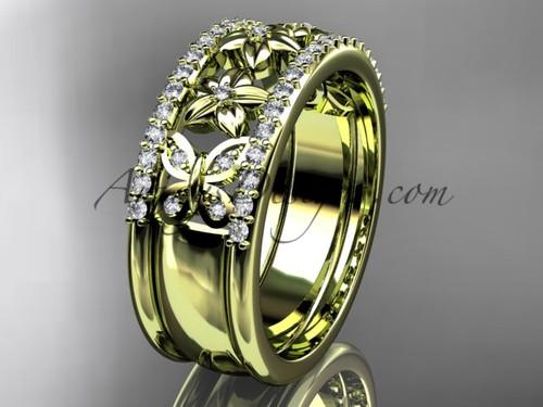 Yellow Gold Diamond Flower Wedding Band ADLR500B