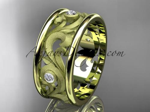 14kt yellow gold diamond engagement ring, wedding band ADLR121BB