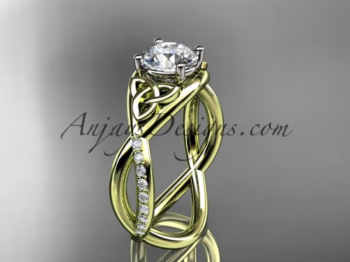 "14kt yellow gold celtic trinity knot engagement ring, wedding ring with a ""Forever One"" Moissanite center stone CT790"
