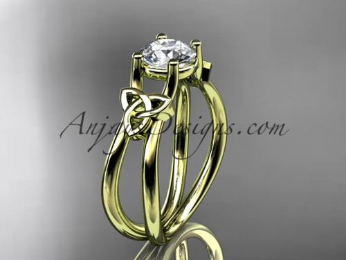 "14kt yellow gold celtic trinity knot wedding ring, engagement ring with a ""Forever One"" Moissanite center stone CT7130"
