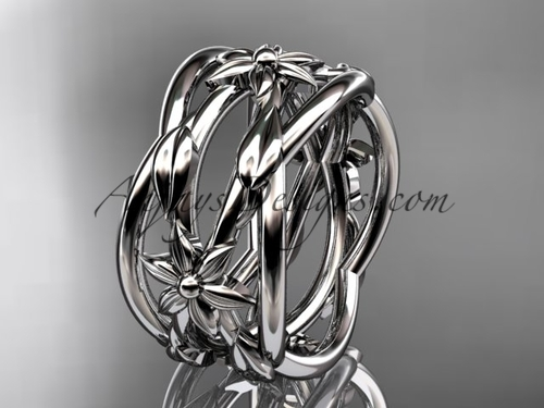 Leaf Engagement Rings White Gold Flower Wedding Ring ADLR352G