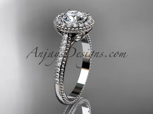 """14kt white gold diamond floral wedding ring, engagement ring with a """"Forever One"""" Moissanite center stone ADLR101"""