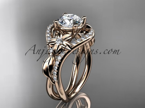 Rose Gold Moissanite Leaf Engagement Ring ADLR244
