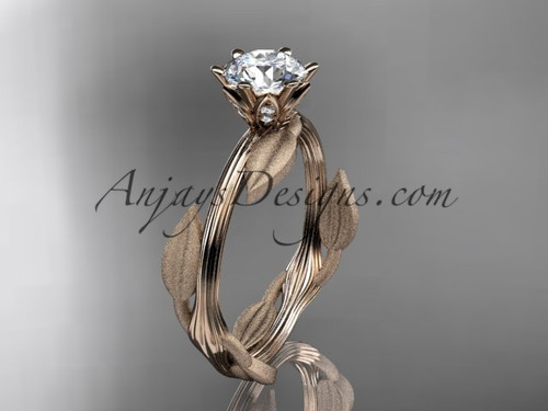 Leaf Wedding Ring Unique Rose Gold Moissanite Ring ADLR343