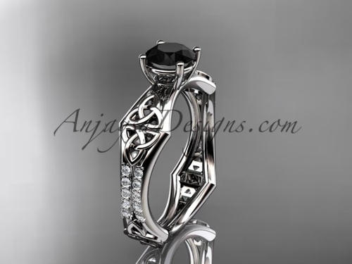 14kt white gold diamond celtic trinity ring,  triquetra ring, engagement  ring with a  Black Diamond center stone CT7353