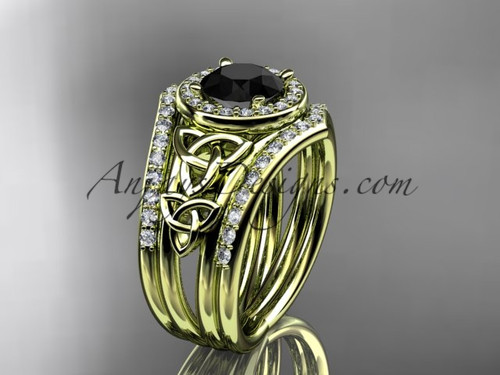 14kt yellow gold diamond celtic trinity knot wedding ring, engagement ring with a Black Diamond center stone and double matching band CT7131S