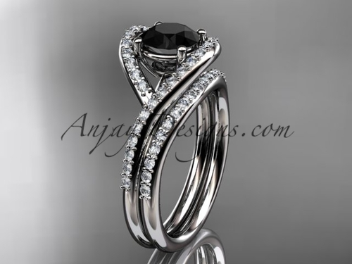 14kt white gold diamond wedding ring, engagement set with a Black Diamond center stone ADLR383S
