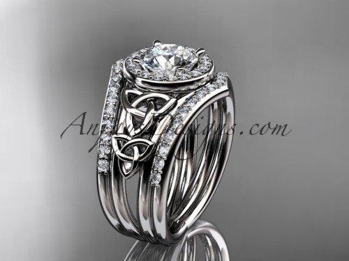 """14kt white gold diamond celtic trinity knot wedding ring, engagement ring with a """"Forever One"""" Moissanite center stone and double matching band CT7131S"""