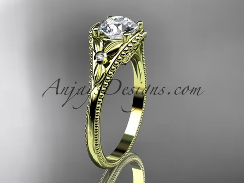 "14k yellow gold leaf and flower diamond unique engagement ring with a ""Forever One"" Moissanite center stone ADLR377"