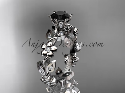 14kt white gold diamond leaf and vine engagement ring with a Black Diamond center stone ADLR209