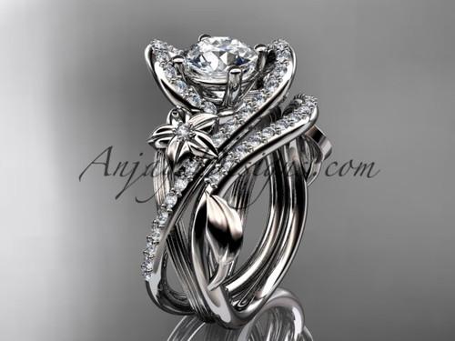 platinum leaf and flower diamond unique engagement set, wedding ring ADLR369S