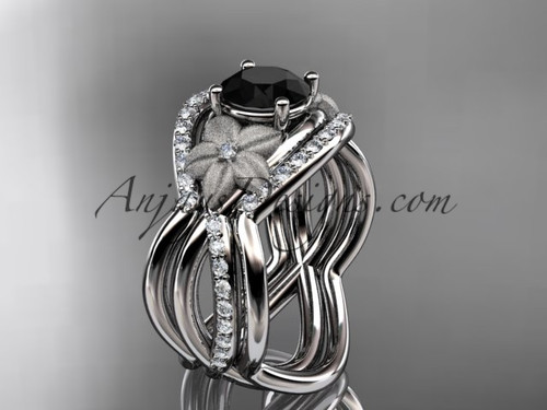 14kt white gold diamond leaf and vine wedding ring, engagement ring with  Black Diamond  center stone and double matching band ADLR90S