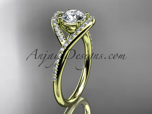 """14kt yellow gold diamond wedding ring, engagement ring with a """"Forever One"""" Moissanite center stone ADLR383"""
