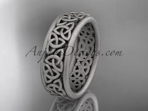 14kt white gold celtic trinity knot wedding band, matte finish wedding band, engagement  ring CT7163G