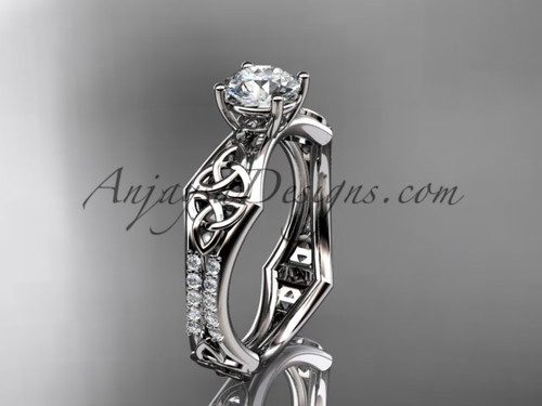 """14kt white gold diamond celtic trinity ring,  triquetra ring, engagement  ring with a """"Forever One"""" Moissanite center stone CT7353"""
