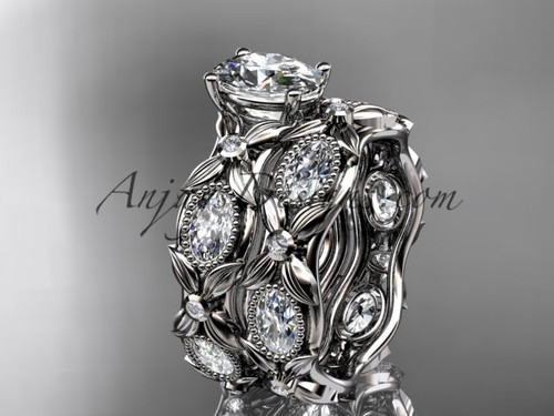 "14kt white gold  diamond leaf and vine wedding ring, engagement  set with a ""Forever One"" Moissanite center stone ADLR152S"