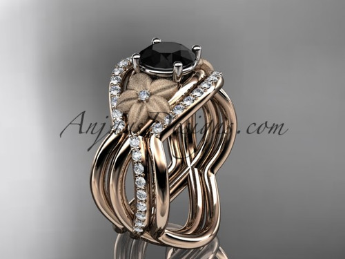 14kt rose gold diamond leaf and vine wedding ring, engagement ring with  Black Diamond  center stone and double matching band ADLR90S