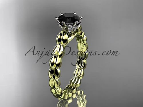 14k yellow gold diamond vine and leaf wedding ring, engagement ring with  Black Diamond center stone ADLR35