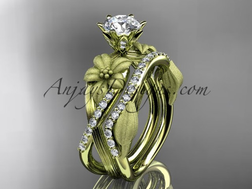 """Unique 14kt yellow gold diamond flower, leaf and vine wedding ring, engagement set with a """"Forever One"""" Moissanite center stone ADLR221S"""