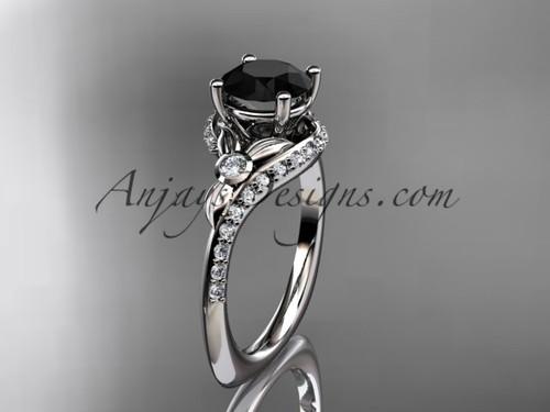 platinum diamond leaf and vine engagement ring with a Black Diamond center stone ADLR112