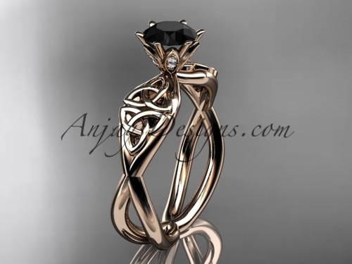 14kt rose gold diamond celtic trinity knot wedding ring, engagement ring with a Black Diamond center stone CT7221