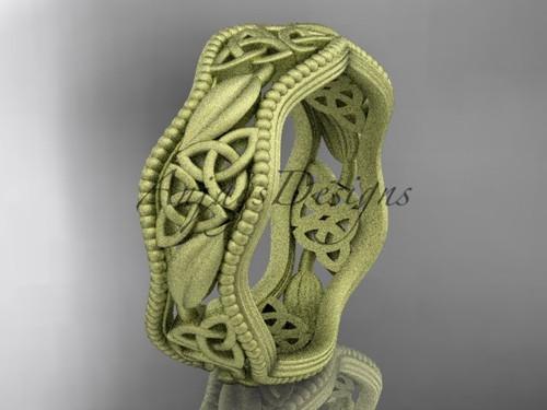 14kt yellow gold celtic trinity knot wedding band, matte finish wedding band, engagement ring CT7508G