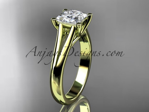 """14kt yellow gold unique engagement ring, wedding ring, solitaire ring with a """"Forever One"""" Moissanite center stone ADER143"""