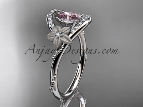 14kt white gold diamond unique floral engagement ring,wedding ring ADLR166 with Titanium Pink SPINEL, SRI-LANKA