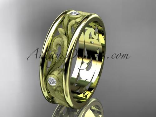 14kt yellow gold diamond engagement ring, wedding band ADLR414BB