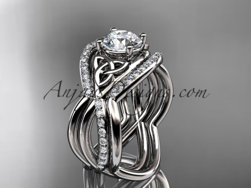 Double Band White Gold Irish Triquetra Wedding Ring CT790S