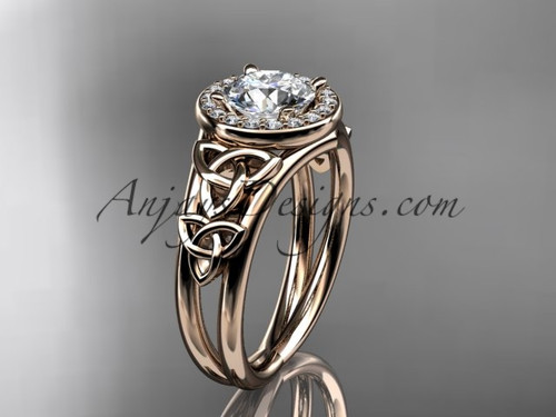 "14kt rose gold diamond celtic trinity knot wedding ring, engagement ring with a ""Forever One"" Moissanite center stone CT7131"