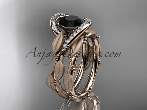 14kt rose gold diamond leaf and vine wedding ring, engagement set with a Black Diamond center stone ADLR64S