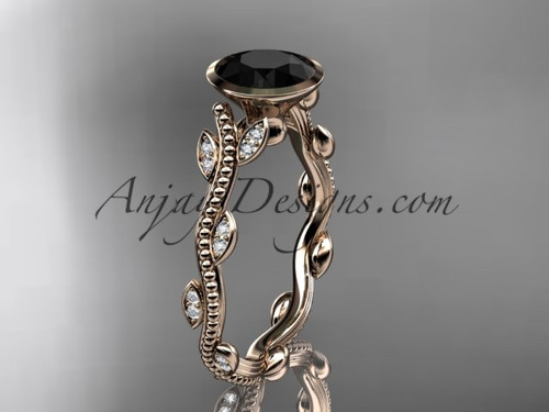 14k rose gold diamond leaf and vine wedding ring, engagement ring with  Black Diamond center stone ADLR33