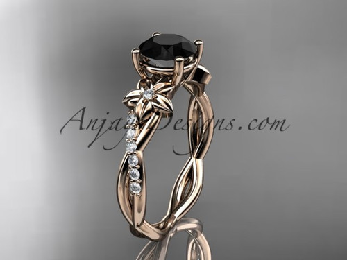 14kt rose gold flower diamond  wedding ring, engagement ring with a Black Diamond center stone ADLR388