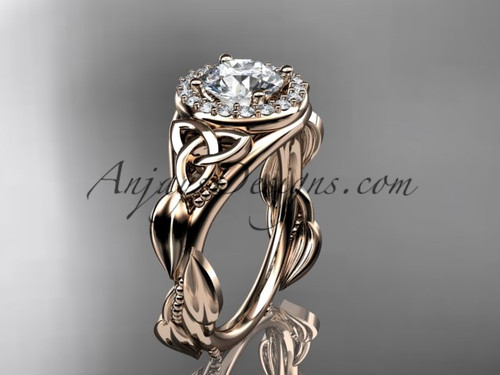 "14kt rose gold diamond celtic trinity knot wedding ring, engagement ring with a ""Forever One"" Moissanite center stone CT7327"