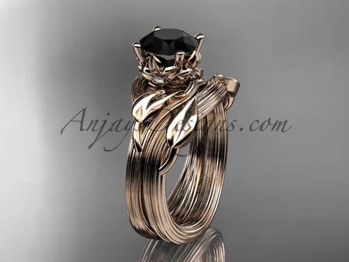 14kt rose gold diamond flower, leaf and vine wedding ring, engagement set with a Black Diamond center stone ADLR240S
