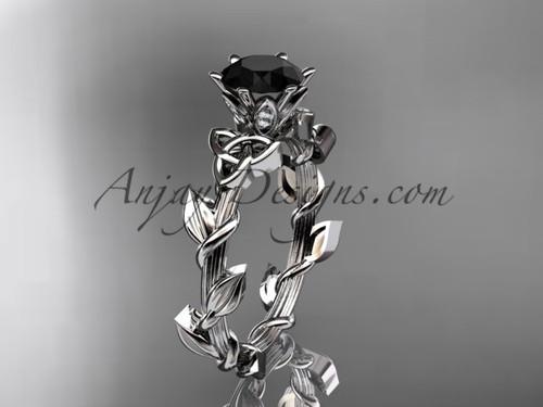 platinum diamond celtic trinity knot wedding ring, engagement ring with a Black Diamond center stoneCT7248