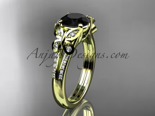 Butterfly Rings Yellow Gold Black Diamond Ring ADLR514