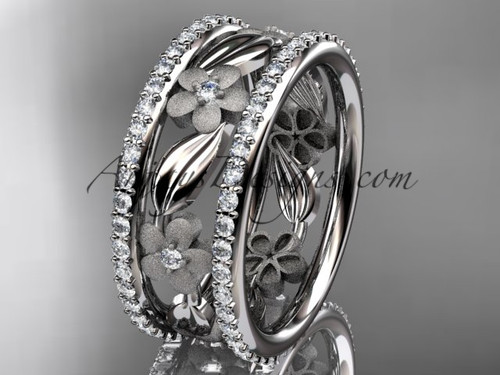 14k white gold diamond flower wedding band, engagement ring ADLR233B