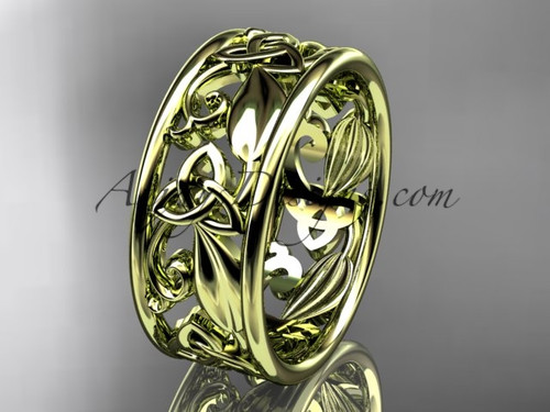 14kt yellow gold celtic trinity knot wedding band, engagement ring CT7150G